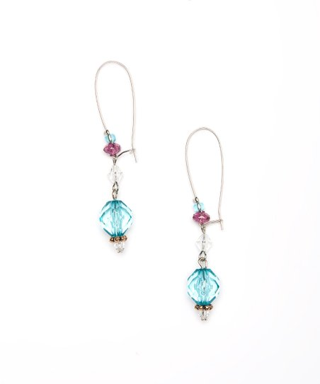 Turquoise & Purple Drop Earrings