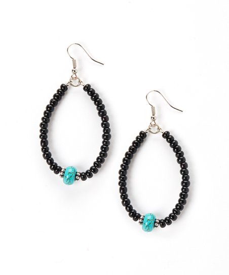 Turquoise & Black Beaded Hoop Earrings