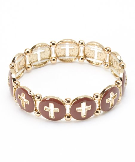 Gold & Brown Cross Stretch Bracelet