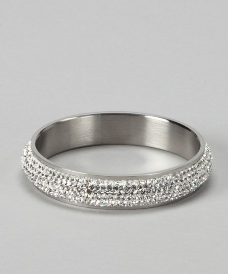 Silver & Czech Crystal Rows Bangle