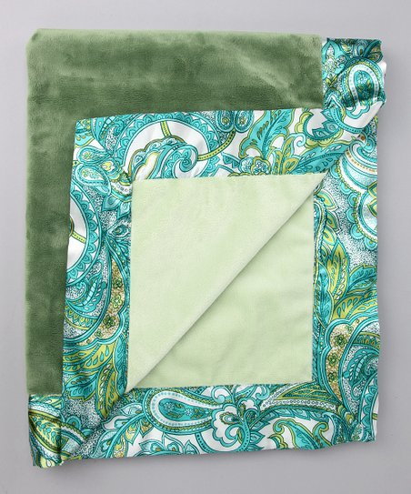Sage Green Jody Satin Trim Velour Blanket
