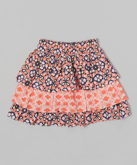 Blue & Orange Tiered Skirt - Toddler & Girls
