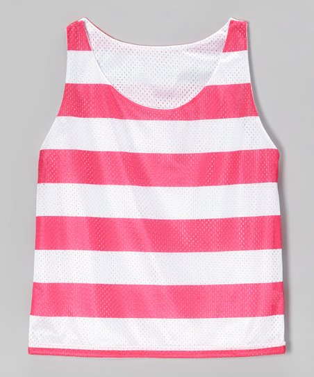 Pink Stripe Breakout Reversible Mesh Tank - Girls