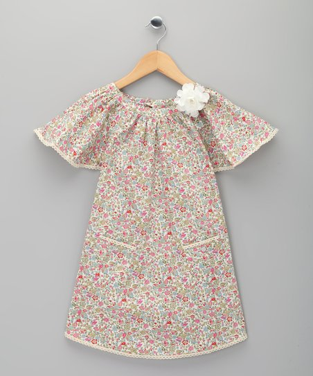 Beige & Pink Floral Butterfly Dress - Toddler & Girls