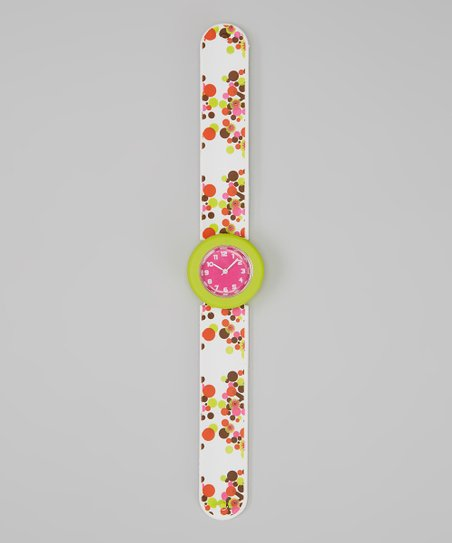 Green & White Flower Slap Watch