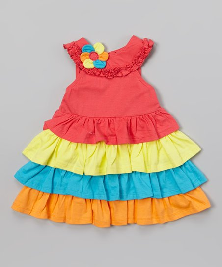 Pink Flower Ruffle Dress - Girls