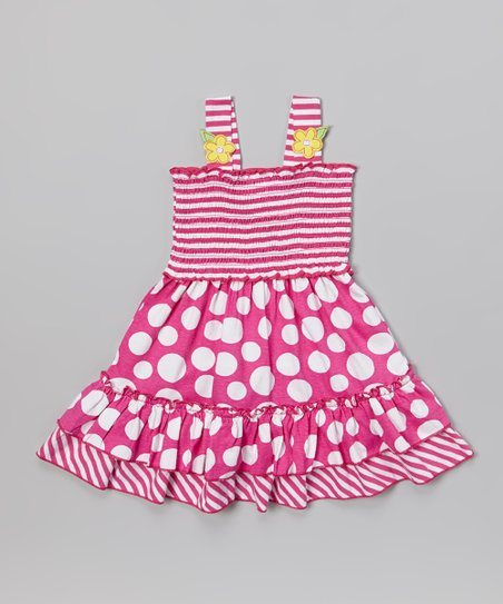 Pink Stripe & Polka Dot Ruffle Dress - Infant & Toddler