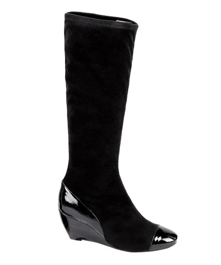 Black Matte Stretch Wedge Boot