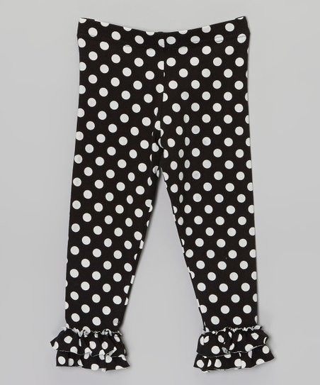 Black & White Polka Dot Ruffle Leggings - Infant, Toddler & Girls