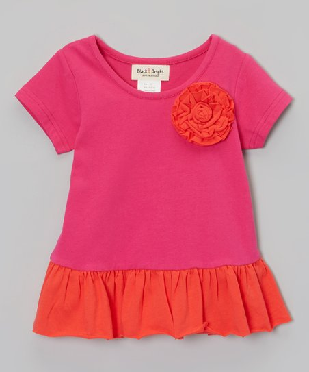 Pink & Red Flower Peplum Top - Infant, Toddler & Girls