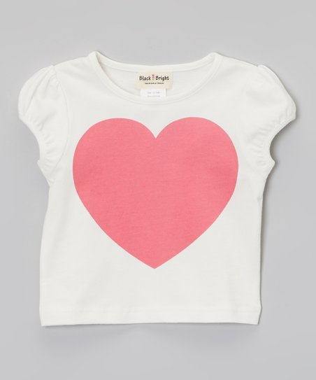 White & Pink Heart Tee - Infant & Toddler