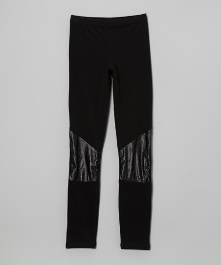 Black Pleather Knee Patch Leggings