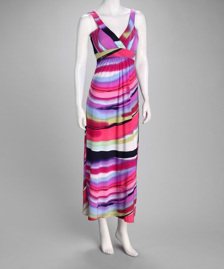 Fuchsia Brushstroke Maxi Dress
