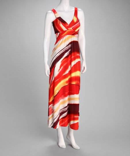 Red Brushstroke Maxi Dress
