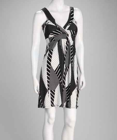 Black &amp; White Geometric Surplice Dress