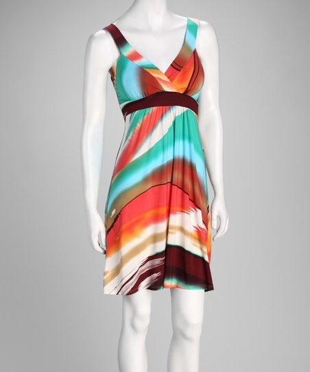 Turquoise Brushstroke Surplice Dress