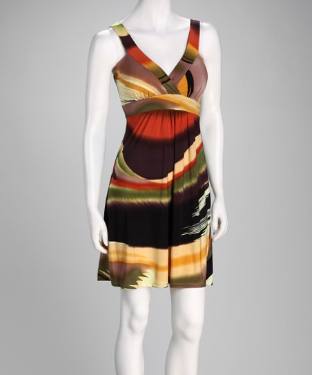 Rust Brushstroke Surplice Dress