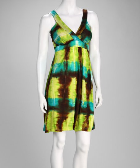 Green & Brown Tie-Dye Surplice Dress