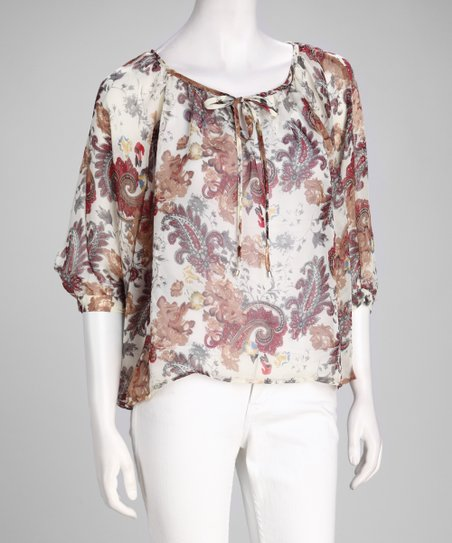 Beige Paisley Chiffon Cape-Sleeve Top