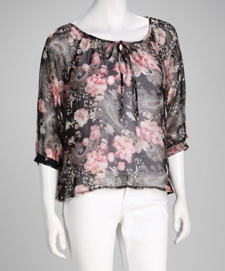 Black Floral Chiffon Cape-Sleeve Top