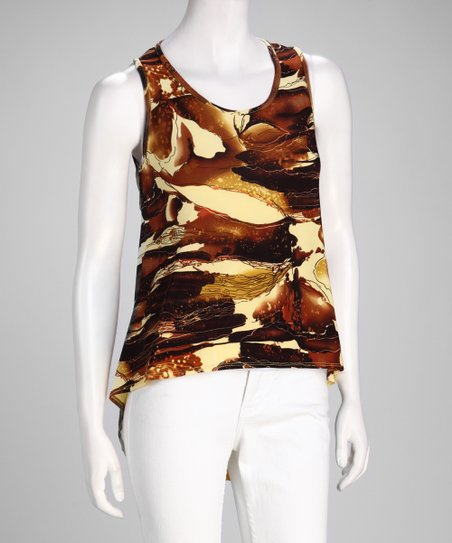 Yellow &amp; Brown Abstract Hi-Low Top