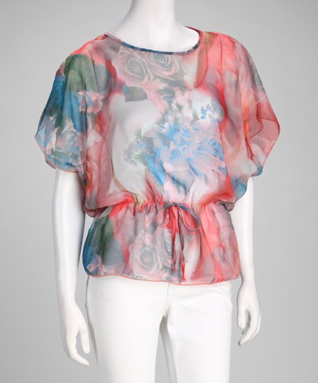 Coral Abstract Chiffon Cape-Sleeve Top