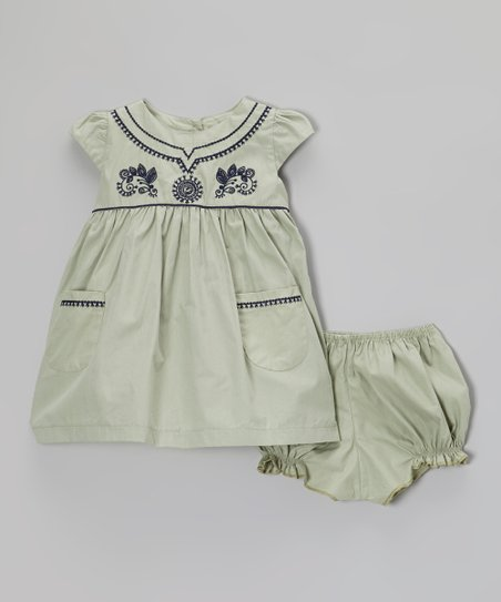Sage Cap-Sleeve Dress & Bloomers - Infant & Toddler