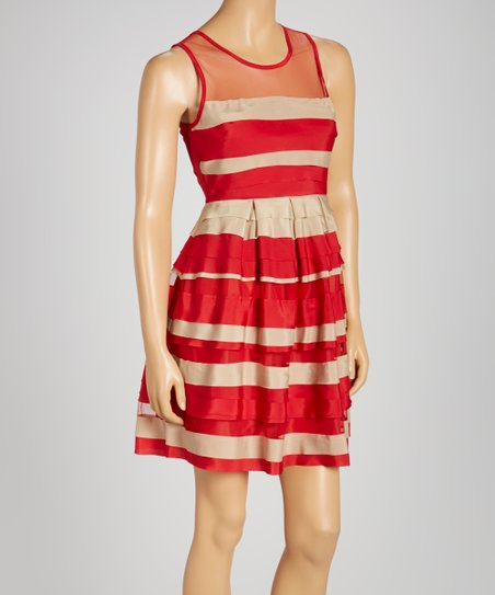 Red Stripe Tiered Sleeveless Dress