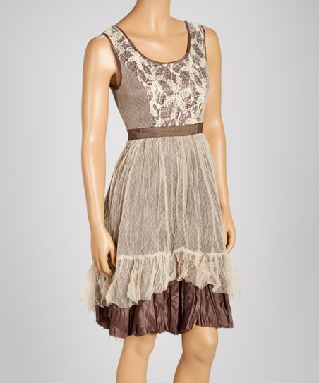 Cream & Brown Lace Sleeveless Dress