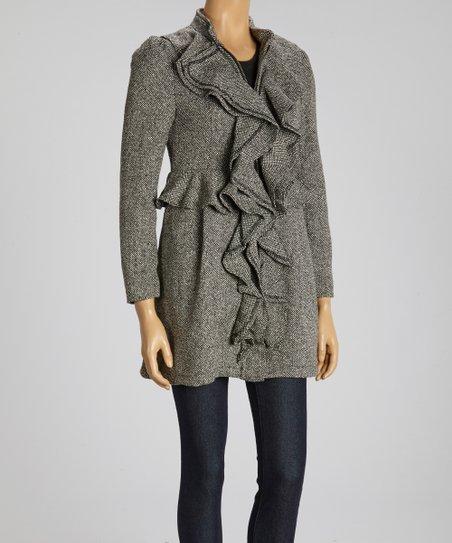Gray Ruffle Wool-Blend Jacket