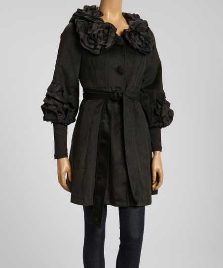 Black Rosette Collar Jacket
