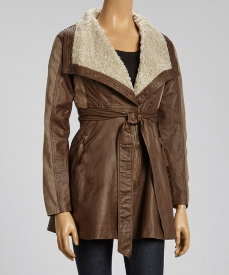 Brown & Beige Faux Shearling Jacket