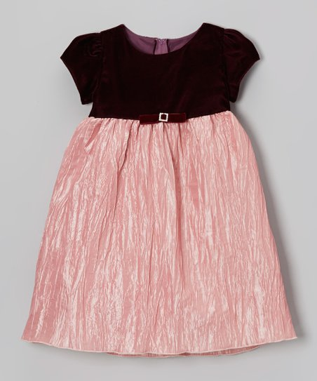 Rose Velvet Crinkle Babydoll Dress - Infant, Toddler & Girls