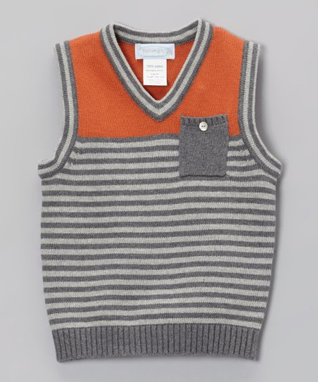 Rust Red & Gray Stripe Sweater Vest - Toddler & Boys