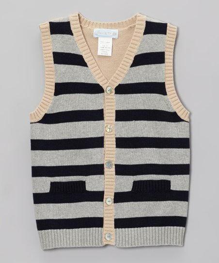 Navy & Gray Stripe Sweater Vest - Boys