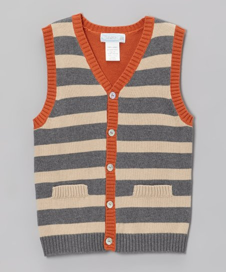 Gray & Tan Sweater Vest - Boys