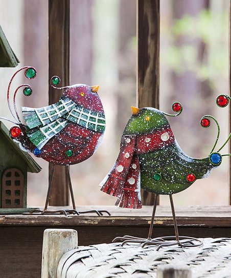 Holiday Bling Bird Statuary Set