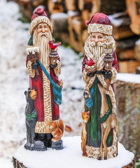 Forest Friends & Santa Statue Set