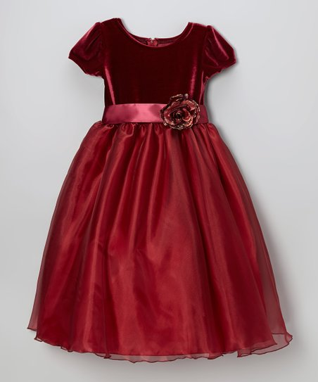 Ruby Velvet & Organza A-Line Dress - Infant, Toddler & Girls