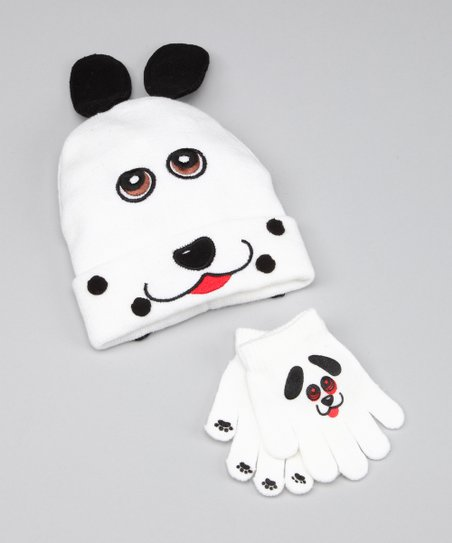 White Dog Beanie & Gloves