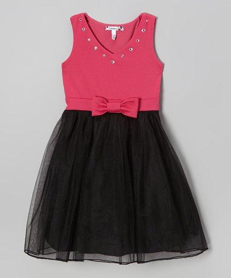 Black & Fuchsia Bow Tulle Dress