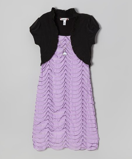 Black & Lilac Eyelash Drape Layered Dress