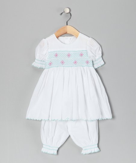 Blue &amp; Pink Scalloped Dress &amp; Bloomers - Toddler