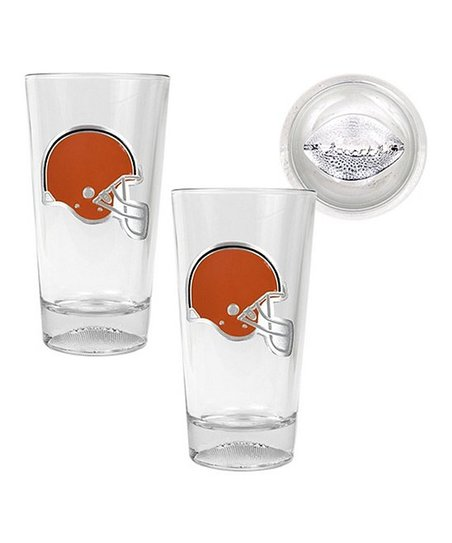 Cleveland Browns Sculpted Pint Glass - Set of Two