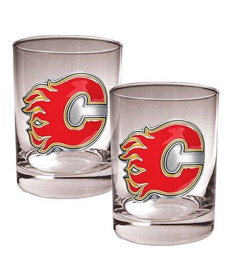 Calgary Flames 14-Oz. Glass - Set of Two