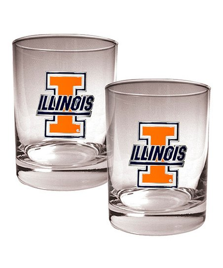 Illinois Fighting Illini Rocks 14-Oz. Glass – Set of Two