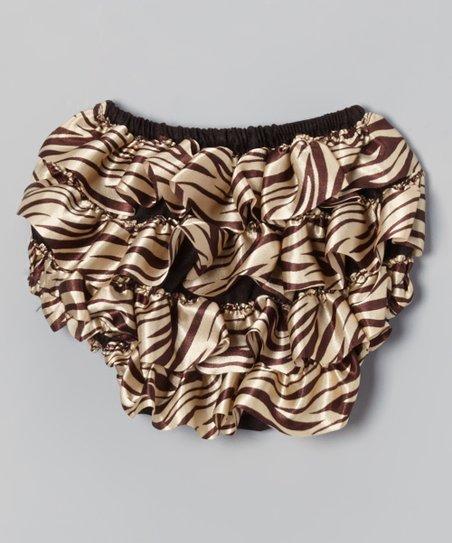 Cream & Tan Zebra Ruffle Diaper Cover - Infant