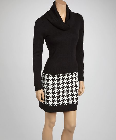 Black & White Houndstooth Cowl Neck Sweater Dress