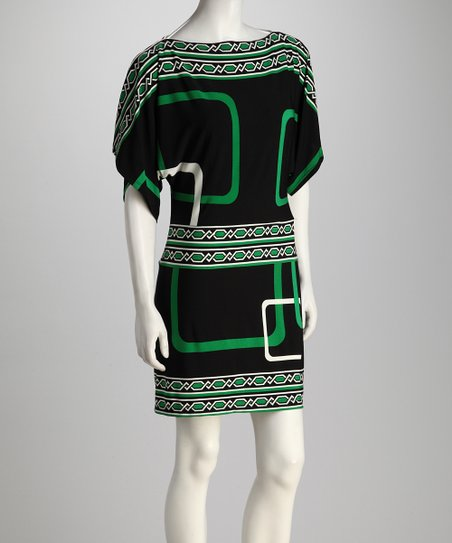 Black &amp; Kelly Green Geometric Dress