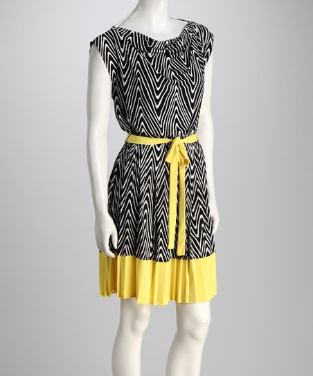 Black &amp; Yellow Zigzag Dress